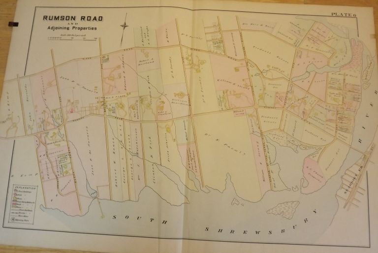 """RUMSON ROAD NJ MAP. FROM WOLVERTON'S """"ATLAS OF MONMOUTH COUNTY,"""" 1889. Chester WOLVERTON."""