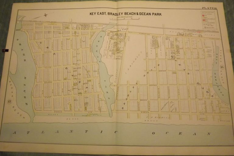 """KEY EAST (AVON), BRADLEY BEACH AND OCEAN PARK NJ MAP. FROM WOLVERTON'S """"ATLAS OF MONMOUTH COUNTY,"""" 1889. Chester WOLVERTON."""