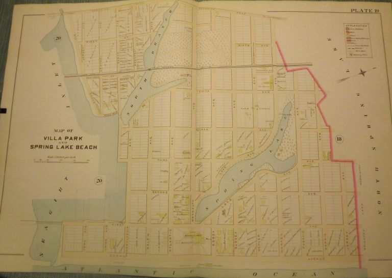 """VILLA PARK & SPRING LAKE BEACH NJ MAP. FROM WOLVERTON'S """"ATLAS OF MONMOUTH COUNTY,"""" 1889. Chester WOLVERTON."""