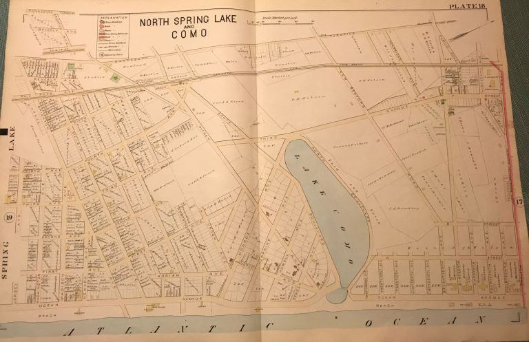 """NORTH SPRING LAKE AND COMO NJ MAP. FROM WOLVERTON'S """"ATLAS OF MONMOUTH COUNTY,"""" 1889. Chester WOLVERTON."""