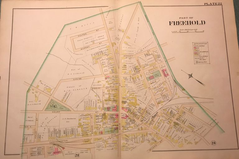 """PART OF FREEHOLD. NJ MAP. FROM WOLVERTON'S """"ATLAS OF MONMOUTH COUNTY,"""" 1889. Chester WOLVERTON."""