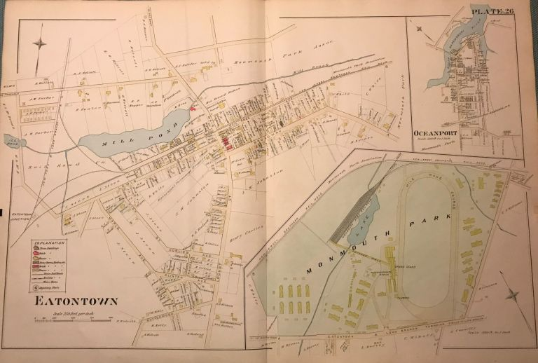 """EATONTOWN/ MONMOUTH PARK/ OCEANPORT. NJ MAP. FROM WOLVERTON'S """"ATLAS OF MONMOUTH COUNTY,"""" 1889. Chester WOLVERTON."""