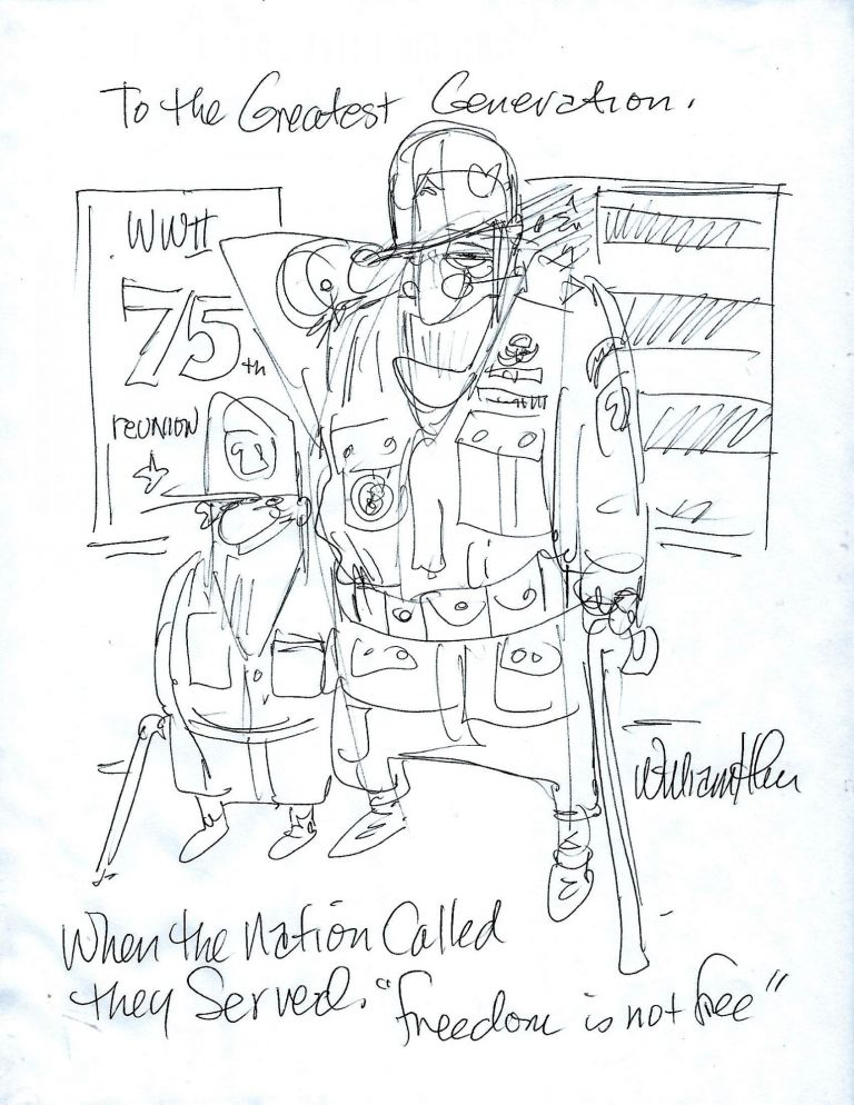 ORIGINAL WORLD WAR II-THEMED SKETCH. William H. FRAKE III.