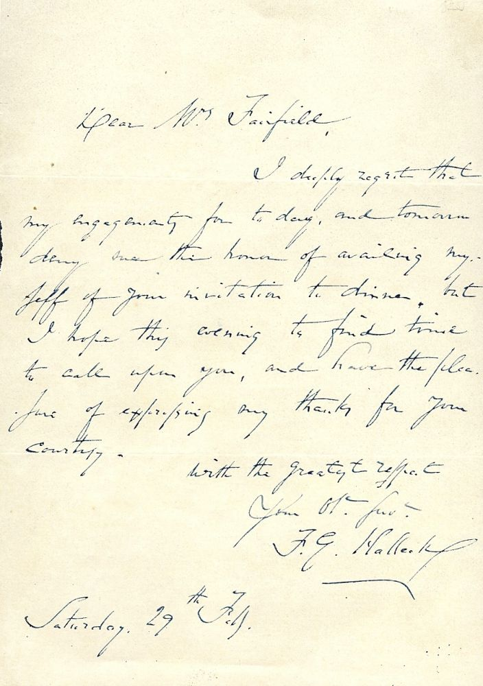AUTOGRAPH LETTER SIGNED. FITZ-GREENE HALLECK.