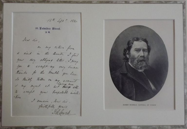 AUTOGRAPH LETTER SIGNED. JAMES RUSSELL LOWELL.