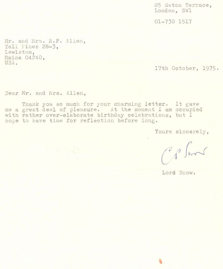 TYPED LETTER SIGNED. C. P. SNOW.