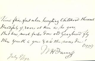 Autograph Manuscript Signed. William Henry FURNESS