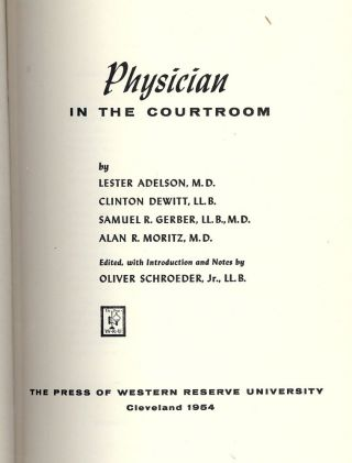 PHYSICIAN IN THE COURTROOM. Oliver SCHROEDER