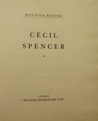 CECIL SPENCER. MAURICE BARING