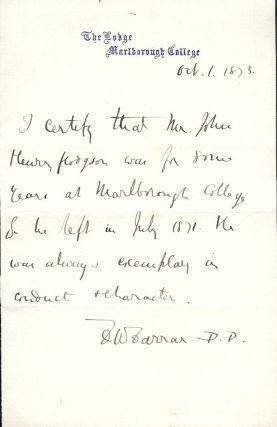 Autograph Letter Signed. Frederic William FARRAR