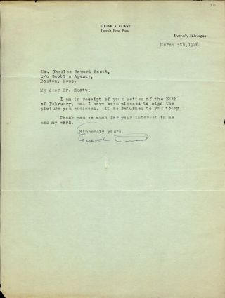 TYPED LETTER SIGNED. EDGAR A. GUEST