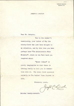 TYPED LETTER SIGNED. JOSEPH C. LINCOLN