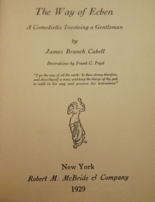 THE WAY OF ECBEN. JAMES BRANCH CABELL