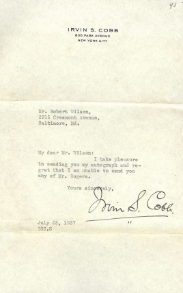 TYPED LETTER SIGNED. IRVIN S. COBB