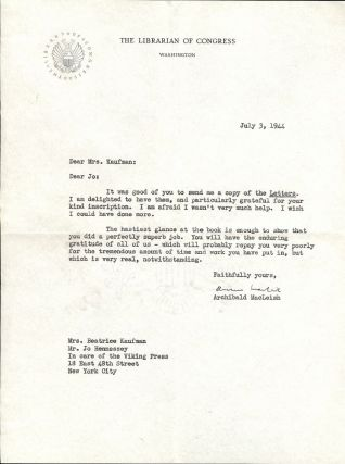 Typed Letter Signed. Archibald MACLEISH