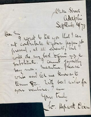 Autograph Letter Signed. William Hepworth DIXON