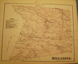 MILLSTONE TOWNSHIP MAP, 1873. F W. BEERS ATLAS OF MONMOUTH COUNTY