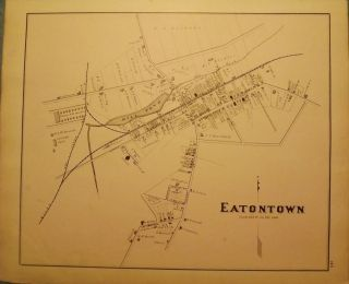 EATONTOWN MAP, 1878. WOOLMAN AND ROSE ATLAS OF THE NEW JERSEY COAST