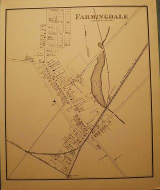 FARMINGDALE MAP, 1878. WOOLMAN AND ROSE ATLAS OF THE NEW JERSEY COAST