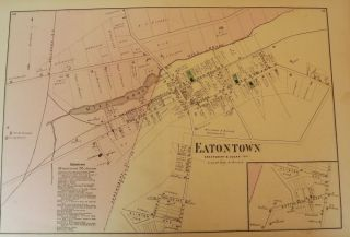 EATONTOWN, NEW JERSEY: 1873 MAP. F W. BEERS ATLAS OF MONMOUTH COUNTY