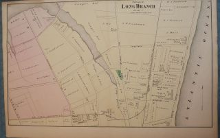 LONG BRANCH: 1873 MAP. F W. BEERS ATLAS OF MONMOUTH COUNTY