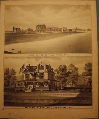 SPRING LAKE: REIDS VILLA PARK/ REV. WILLITS. F W. BEERS ATLAS OF MONMOUTH COUNTY