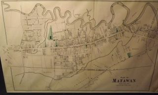 MATAWAN 1889 MAP. WOLVERTON ATLAS OF MONMOUTH COUNTY