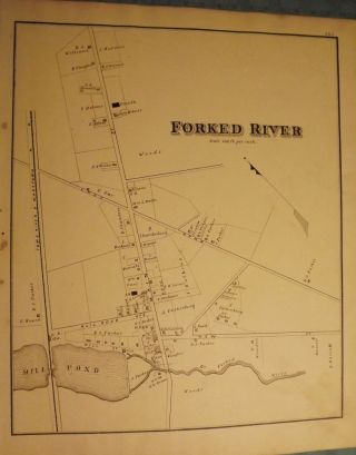 FORKED RIVER MAP, 1878. WOOLMAN AND ROSE ATLAS OF THE NEW JERSEY COAST
