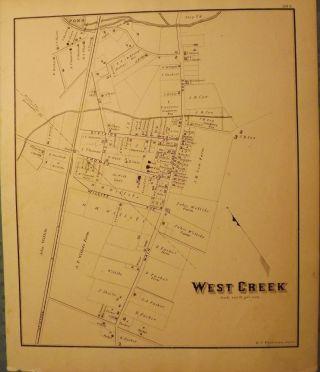 WEST CREEK MAP 1878. WOOLMAN AND ROSE ATLAS OF THE NEW JERSEY COAST.