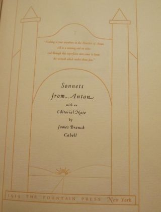 SONNETS FROM ANTAN. JAMES BRANCH CABELL