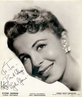 Signed Photograph. Eydie GORME