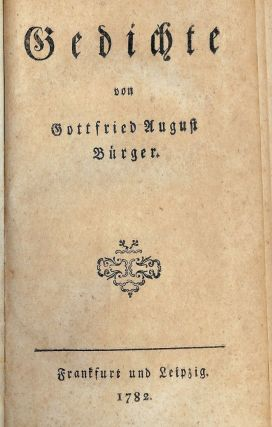 GEDICHTE. Gottfried August BURGER