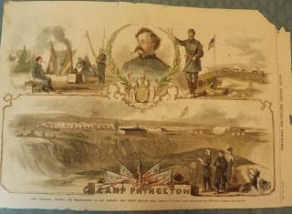 NEW JERSEY CIVIL WAR BRIGADE: CAMP PRINCETON. FRANK LESLIE'S ILLUSTRATED NEWSPAPER