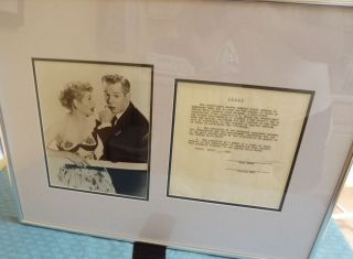 AUTOGRAPH DOCUMENT SIGNED BY BALL AND ARNAZ. Lucille BALL