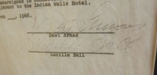AUTOGRAPH DOCUMENT SIGNED BY BALL AND ARNAZ