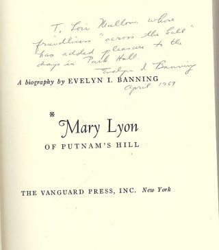MARY LYON OF PUTNAM'S HILL