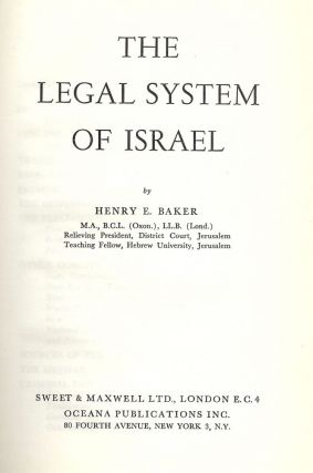 THE LEGAL SYSTEM OF ISRAEL