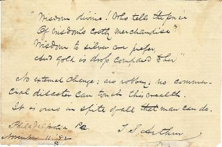Autograph Quotation Signed. T. S. ARTHUR
