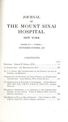 JOURNAL OF THE MOUNT SINAI HOSPITAL NEW YORK. Joseph H. GLOBUS