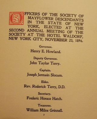 SOCIETY OF MAYFLOWER DESCENDANTS IN THE STATE OF NEW YORK. Richard Henry GREENE