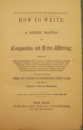 HOW TO WRITE: A POCKET MANUAL OF COMPOSITION AND LETTER-WRITING
