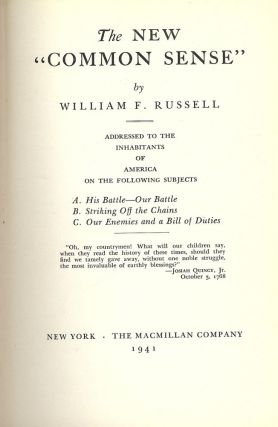 THE NEW COMMON SENSE. William F. RUSSELL