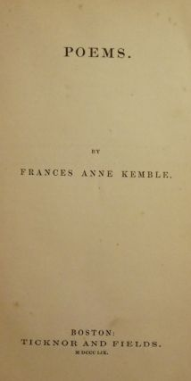 POEMS. Frances Anne KEMBLE