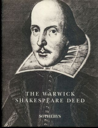 THE WARWICK SHAKESPEARE DEED. William SHAKESPEARE.