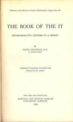 THE BOOK OF THE IT. Georg GRODDECK