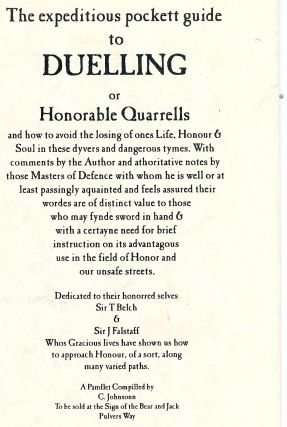 THE EXPEDITIOUS POCKETT GUIDE TO DUELLING OR HONORABLE QUARRELLS. C JOHNSONN