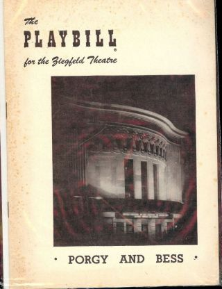 PORGY AND BESS PLAYBILL PROGRAM. George GERSHWIN