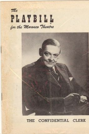 THE CONFIDENTIAL CLERK PLAYBILL PROGRAM. T. S. ELIOT