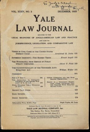 YALE LAW JOURNAL: DECEMBER, 1925. Ernest ANGELL