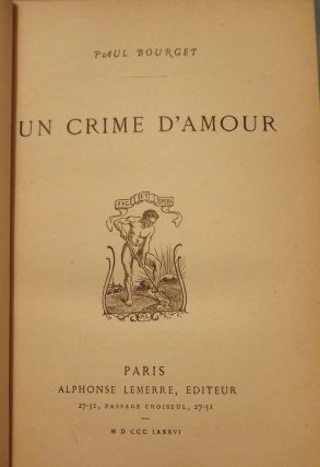 UN CRIME D'AMOUR. Paul BOURGET